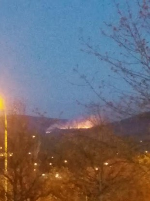Fire in the Dublin Mountains yesterday evening.