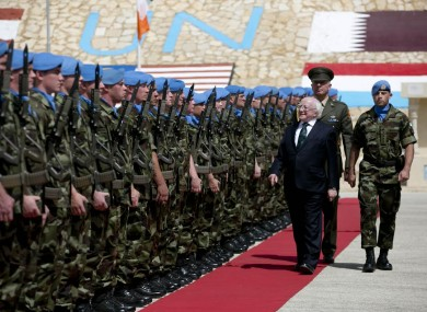 President Michael D Higgins during an Inspection of the Captains Guard of Honour during his visit in South Lebanon.