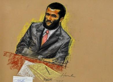 A court sketch of Omar Khadr.