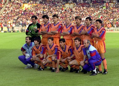 Barcelona's team pictured ahead of the 1992 European Cup final.