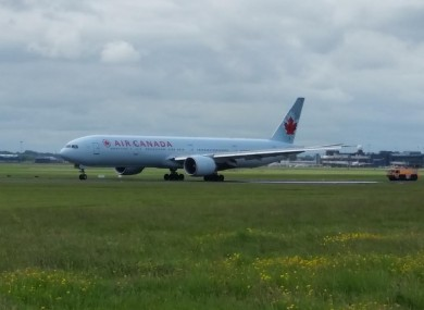 The Air Canada jet on the tarmac at Shannon this morning.