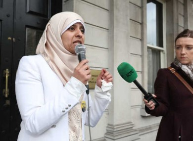Somaia Halawa calls for Ibrahim's release outside the Department of Foreign Affairs.
