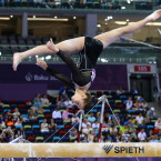 Spain's Claudia Colom Martin performs a manoeuvre during the Artistic Gymnastics event at the European Games. <span class=