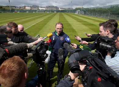O'Neill facing the media in Malahide today.