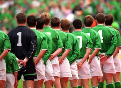 The Irish team during Amhrán na bhFiann.