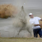 Gary Woodland hits a shot from deep inside the bunker on the 15th hole at the US Open.<span class=