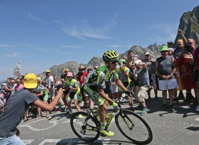 Stage winner Rafal Majka climbs the Col du Tourmalet.