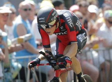 Australia's Rohan Dennis strains during the first stage of the Tour de France cycling race.