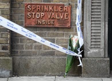 Flowers left near the scene of the crash.