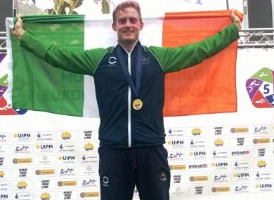 Arthur Lanigan O'Keeffe celebrates his win today.