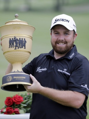 Shane Lowry with the trophy after winning at Firestone.
