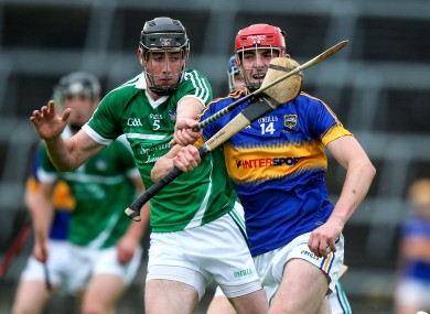 Diarmaid Byrnes of Limerick in action against Tipperary's Colin O'#Riordan in the Bord Gais Energy Munster Under 21 Hurling Championship Semi-Final at Gaelic Grounds back in July.