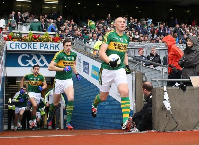 Kieran Donaghy leads Kerry out before their semi-final clash with Tyrone.