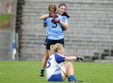 Muireann Ni Scanaill and Olwen Carey celebrate Dublin's quarter-final win over Monaghan.