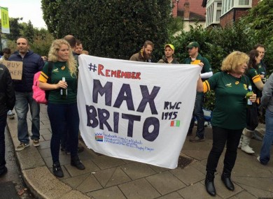 Amanda Williams (right) and her daughter Leigh-Ann show their support for the Max Brito campaign at the recent South Africa-New Zealand Rugby World Cup semi-final.
