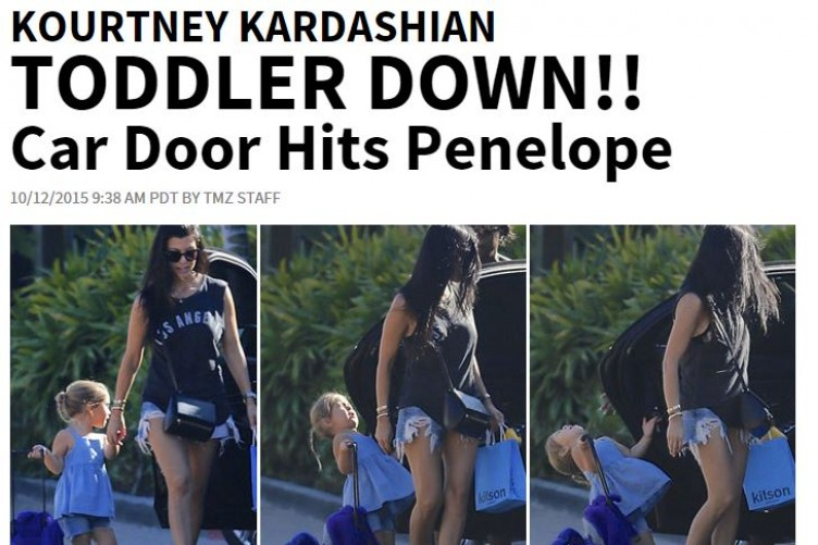 Kourtney Kardashian's daughter got whacked in the face with