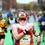 One of the many thousands of delighted, exhausted, competitors who finished the Dublin City Marathon.<span class=