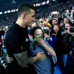 One of the many heartwarming shots of Sonny Bill Williams and young Charlie Lines.<span class=