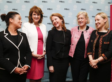 Some of Ireland's most prominent female politicians: Mary Lou McDonald, Joan Burton, Catherine Noone, Mary White and Lucinda Creighton