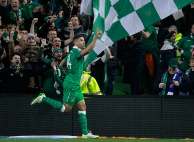 Jon Walters celebrates after scoring the opening goal during the Euro 2016 play-off second leg last night.