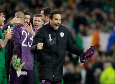 Ireland goalkeeper David Forde celebrates at the end of the Euro 2016 play-off second leg.