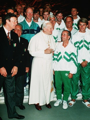 Ireland team kit man Charlie O'Leary meets Pope John Paul II with the rest of the squad.