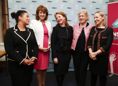 Some of Ireland's most prominent female politicians: Mary Lou McDonald, Joan Burton, Catherine Noone, Mary White and Lucinda Creighton.