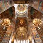 The vaulted ceiling at the Cathedral of the Resurrection of Christ.<span class=