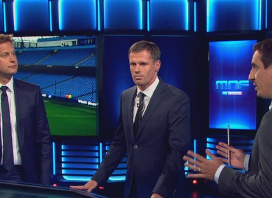 Jamie Carragher and Gary Neville with Ed Chamberlan on Sky's Monday Night Football.
