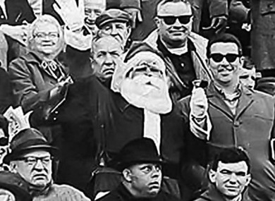 Frank Olivo in his Santa suit, cheering on the Eagles at Franklin Field.
