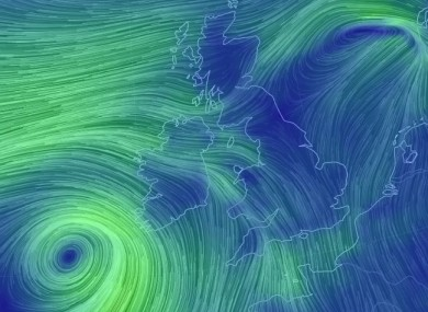 The wind picture off Ireland this evening.