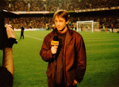 TnaG's Micheál Ó Domhnaill doing a piece to camera at the Nou Camp in 1996.
