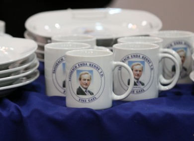 Enda Kenny-branded mugs and plates which can be purchased at the Fine Gael Ard Fheis