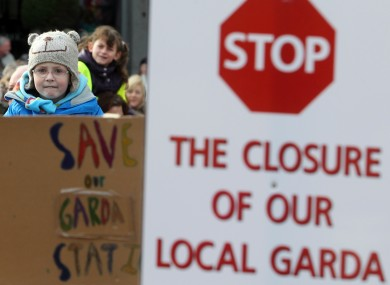A protest at Stepaside Garda Station, Dublin in 2013.