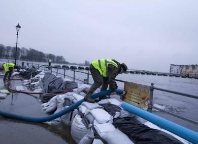 Sandbags at the River Shannon, Athlone.
