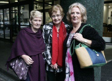 Survivors of Symphysiotomy members stand outside the Department of Health in September 2014.