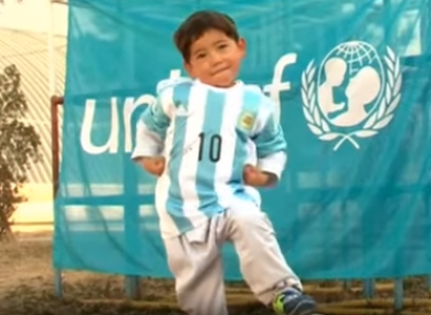 aea42d2b5 Remember the boy with the plastic bag Messi shirt  His hero sent him ...