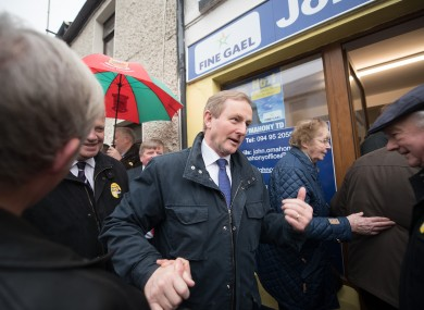 Enda Kenny on a visit to Mayo yesterday