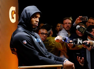 Cam Newton pictured after the game.