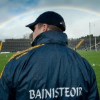 Kerry manager Eamonn Fitzmaurice under a rainbow.<span class=