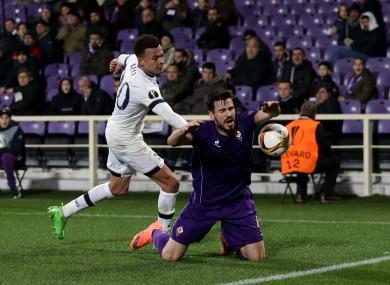 Alli and Fiorentina defender Nenad Tomovic.
