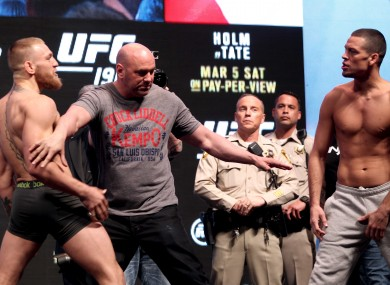 Dana White separates Conor McGregor and Nate Diaz at the recent UFC 196 weigh-ins.