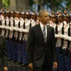 President Barack Obama with Cuban President Raul Castro.<span class=
