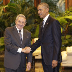 President Barack Obama meets with Cuban President Raul Castro.<span class=