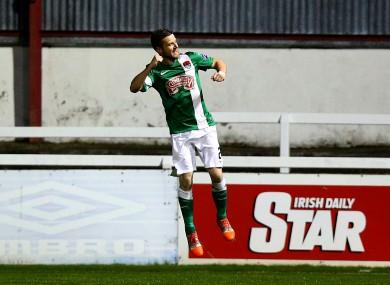 Steven Beattie of Cork celebrates scoring (file pic).