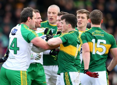Tempers flare between Donegal and Kerry players.