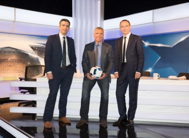 TV3 presenter Tommy Martin with Graeme Souness and Ireland manager Martin O'Neill.