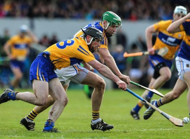 Clare's Gearoid O'Connell and Noel McGrath of Tipperary battling for possession.