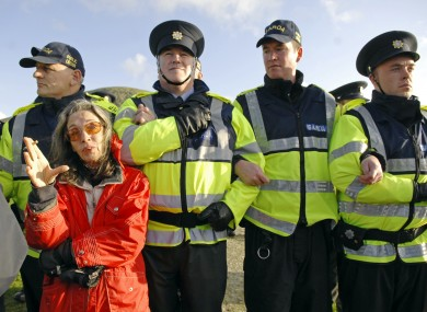 Maura Harrington pictured during a protest at the Shell oil refinery at Glengad beach in Co Mayo in 2009.