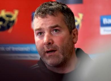 Munster coach Anthony Foley.